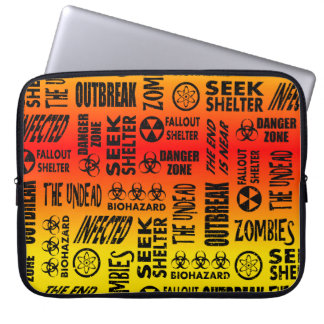 Zombie, Outbreak, Undead, Biohazard Red & Yellow Laptop Sleeve