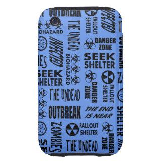 Zombie, Outbreak, Undead Black & Cornflower Blue Tough iPhone 3 Cover