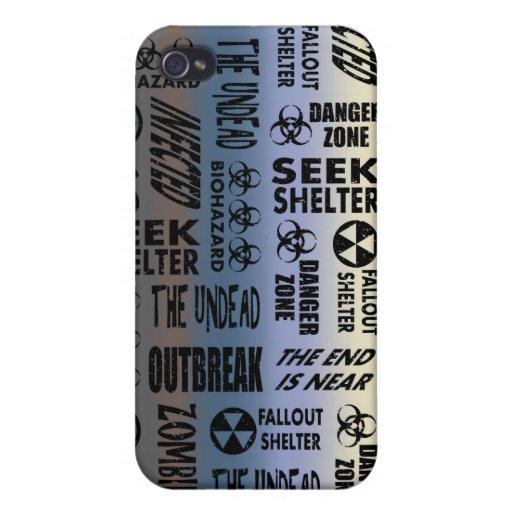Zombie Outbreak, Undead, Black & Metallic Gradient iPhone 4 Case