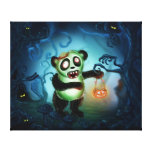 Zombie Panda Halloween Forest Stretched Canvas Print