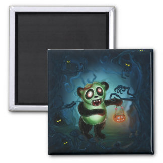 Zombie Panda Halloween Forest Square Magnet
