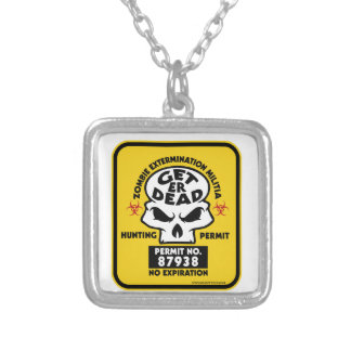 ZOMBIE-PERMIT SILVER PLATED NECKLACE