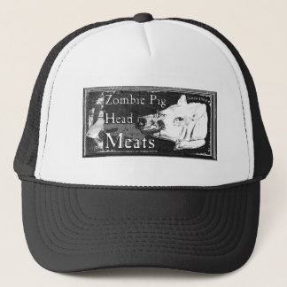 Zombie Pig Head Meats -Since 1968 Black & White Trucker Hat