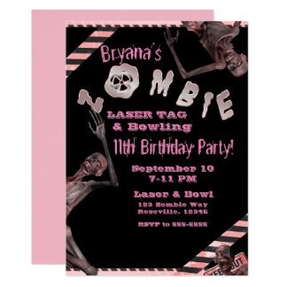 Zombie Pink & Black Girls Birthday Party Inviation Card