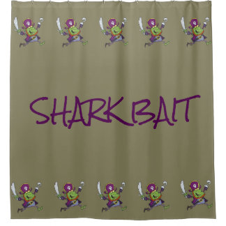 ZOMBIE PIRATE CARTOON SHARK BAIT SHOWER CURTAIN