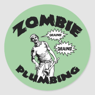 Zombie Plumbing Classic Round Sticker