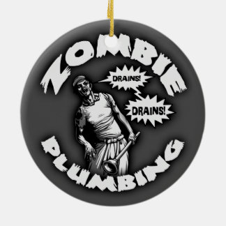Zombie Plumbing Round Ceramic Ornament
