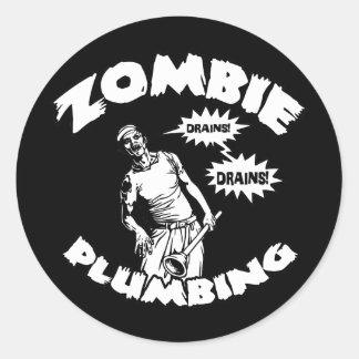 Zombie Plumbing Round Sticker