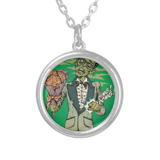 zombie prom date with brain roses personalized necklace
