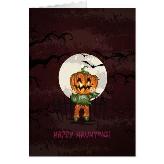 Zombie pumpkins head in graveyard Halloween Card