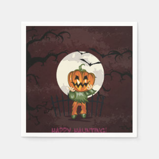 Zombie pumpkins head in graveyard Halloween Disposable Napkin