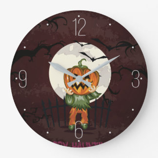 Zombie pumpkins head in graveyard Halloween Wall Clocks