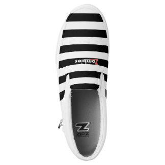 Zombie Punky White Stripe Low Tops By BoardZombies Slip-On Sneakers