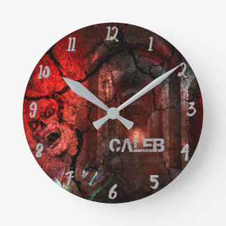 Zombie Red Halloween Horror Custom Personalized Round Clock
