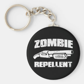 zombie repellent - the shotgun basic round button keychain