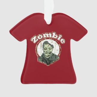 Zombie Retro-Red & Green Distressed Ornament