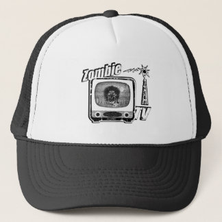 Zombie Retro TV-Style 3 Black and White Trucker Hat