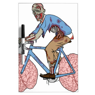 Zombie Riding Bike With Brain Wheels Dry Erase Board