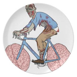 Zombie Riding Bike With Brain Wheels Plate