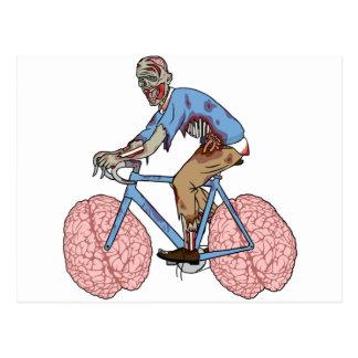 Zombie Riding Bike With Brain Wheels Postcard
