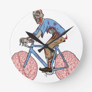 Zombie Riding Bike With Brain Wheels Round Clock