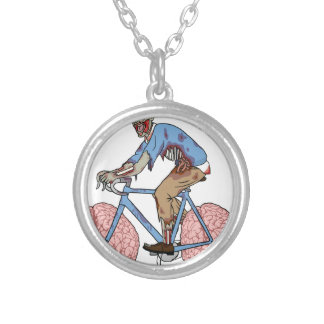 Zombie Riding Bike With Brain Wheels Silver Plated Necklace