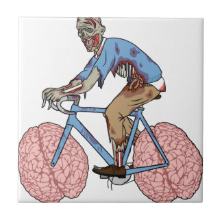 Zombie Riding Bike With Brain Wheels Tile