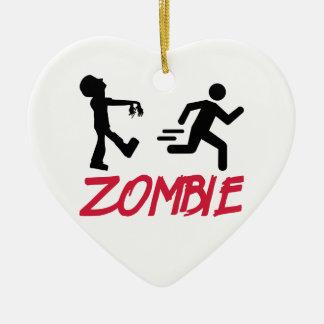 Zombie running person ceramic heart ornament