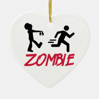 Zombie running person ceramic ornament