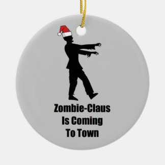 Zombie Santa Ceramic Ornament