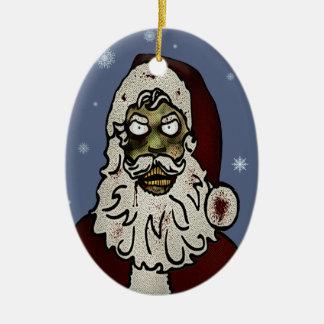 Zombie Santa Ceramic Oval Ornament