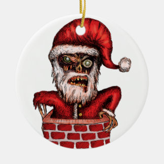 Zombie Santa Round Ceramic Ornament