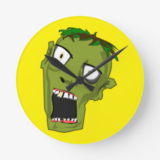 Zombie Scary Dead Halloween Face Cartoon Round Clock