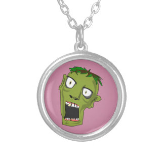 Zombie Scary Dead Halloween Face Cartoon Silver Plated Necklace