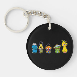 Zombie Sesame Street Characters Double-Sided Round Acrylic Keychain