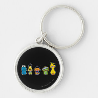 Zombie Sesame Street Characters Silver-Colored Round Keychain