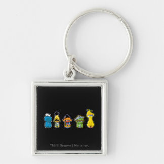 Zombie Sesame Street Characters Silver-Colored Square Keychain