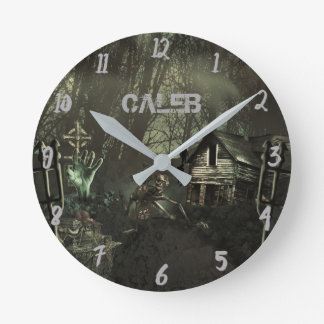 Zombie Shack Halloween Horror Custom Personalized Round Clock
