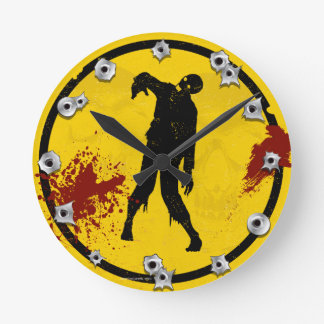 Zombie Silhouette in Yellow Black Plate Blood Round Clock