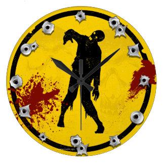 Zombie Silhouette in Yellow Black Plate Blood Wallclocks