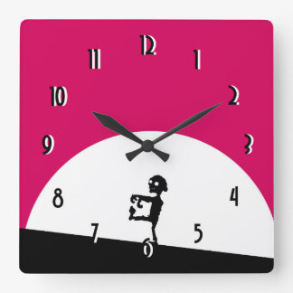 Zombie Silhouette with Full Moon Clocks