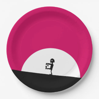 Zombie Silhouette with Full Moon Paper Plate