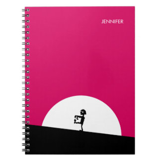 Zombie Silhouette with Full Moon Personalized Spiral Note Book