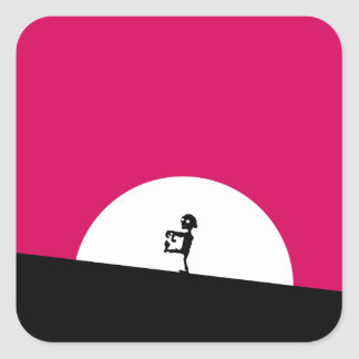 Zombie Silhouette with Full Moon Square Sticker