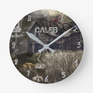 Zombie Sinister Halloween Horror Personalized Round Clock