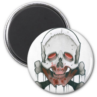 Zombie Skull and Crossbones Refrigerator Magnets