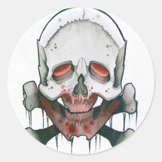 Zombie Skull and Crossbones Classic Round Sticker