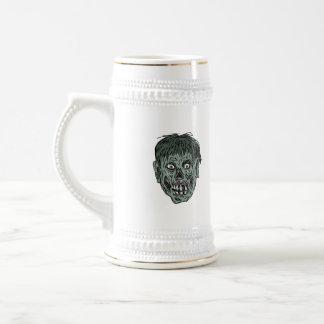Zombie Skull Head Drawing Beer Stein