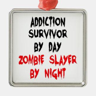 Zombie Slayer Addiction Survivor Silver-Colored Square Ornament