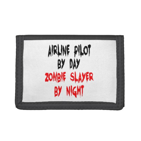 Zombie Slayer Airline Pilot Trifold Wallets
